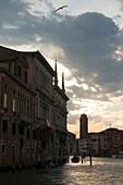 Sunset on the Grand Canal, Venice, Venezia, Italy, Europe