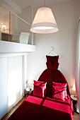 Room 'Sleeping in a Ballgown' with bed shaped as a gala dress, Hotel Maison Moschino, Via Monte Grappa 12, Milan, Italy
