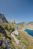 Coastal highway MA-2210 to Cap de Formentor, Cala Figuera bay on the right, Formentor Peninsula, north shore, Mallorca, Balearic Islands, Spain