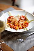 Mallorquin shrimps and calamari, main dish at restaurant Leon Alberti, owned by chef Berta, Plaza Progreso 18, Palma de Mallorca, Mallorca, Balearic Islands, Spain