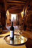 Wine cellar with self-service for guests, Finca Raims, rebuilt vineyard and country hotel, Algaida, Mallorca, Balearic Islands, Spain