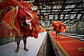 Dyeing fabrics  Jodhpur  Rajasthan  India.