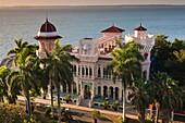 Cuba, Cienfuegos Province, Cienfuegos, Punta Gorda, Palacio de Valle, restored sugar baron house, elevated view