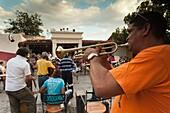 Cuba, Sancti Spiritus Province, Trinidad, Casa de la Musica, outdoor bar and cafe, NR