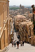 Italy, Sicily, Caltogirione, Medieval town known for it´s fine ceramics  View from the top of a long steep staircase to the upper town