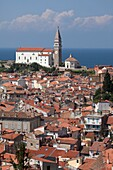 Slovenia  Adriatic coast  Piran  St  George Church.