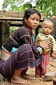 Palaung village  Palaung is a Mon–Khmer ethnic minority found in Shan State of Burma, Yunnan province of China and northern Thailand  Lashio area  Shan state  Burma  Republic of the Union of Myanmar