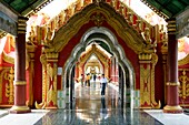 The Kuthodaw Pagoda built by King Mindon in 1857, modeled on the Shwezigon Pagoda at Nyaung U, is surrounded by 729 upright stone slabs on which are inscribed the entire Buddhist Scriptures as edited and approved by the Fifth Buddhist Synod  It is popular