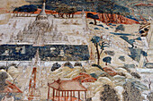 Frescoes depicting everyday scenes and illustrations of the zodiac  The Kyauktawgyi Pagoda was built by King Bagan in 1847 on the model of the Ananda Temple at Pagan  Amarapura  Mandalay Division  Burma  Republic of the Union of Myanmar