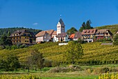 architecture, Bas-Rhin, blue, building, city, cityscape, color image, copy space, day, Europe, France, horizontal, house, idyll, idyllic, itterswiller, outdoors, picturesque, scenic, sky, town, village, Wine Route, V04-1818576, AGEFOTOSTOCK
