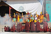 China, Qinghai, Amdo, Tongren Rebkong, Lower Wutun monastery, Losar New Year festival, Opening ceremony
