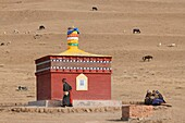 China, Gansu, Amdo, Xiahe region, Old woman doing a kora circumambulation around a lonely chorten