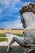 Schönbrunn Palace and gardens from Neptune fountain, Vienna, Austria, Europe
