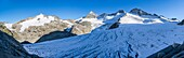 Valley head of valley Obersulzbachtal in the NP Hohe Tauern  Peaks of Mt  Grossvenediger, Mt  Grosser Geiger and Mt  Maurerkeeskopf  The National Park Hohe Tauern is protecting a high mountain environment with its characteristic landforms, wildlife and ve