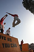 21 Oct 2012 sports and street games day on via dei fori imperiali road near the colosseum in rome italy