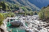Lavertezzo and the river Verzasca in Ticino, Switzerland