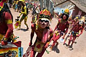 "Cora Indians, wearing colorful masks, run during the religious ritual celebration of Semana Santa Holy Week in Jesús María, Nayarit, Mexico, 22 April 2011  The annual week-long Easter festivity called ""La Judea"", performed in the rugged mountain country o"
