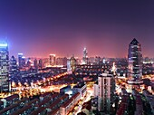 Night view of city landscape and residential complexes in Pudong, Shanghai, China
