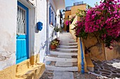 Narrow streets & houses of Ano Syros, Syros Island  S  , Greek Cyclades Islands