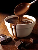 Melted Choclate being stirred in a bowl - Stock Photos