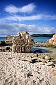Carved stone in Las Salinas beach  Ibiza, Balearic Islands, Spain