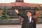 Lenin Look a Like in Front of Lenin Tomb in Red Square Moscow Russia