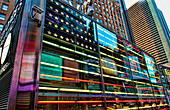 Colorful new neon flag artwork in Times Square in New York City