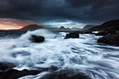 Rampaging surf at the beach of Elgol with the view to Cuillin Hills on the Isle of Skye, Scotland, United Kingdom