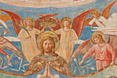 Fresco depicting Christ surrounded by angels, interior, Sant Agostino, church of St. Augustine, 13th. century, San Gimignano, hill town, province of Siena, Tuscany, Italy, Europe