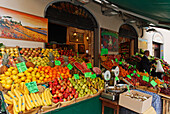 Fruit and vegetable shop, market stand on Piazza del Ortaggio, market place, Pistoia, Tuscany, Italy, Europe