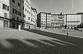 Piazza del Campo, Il Campo, square, shadow of Torre del Mangia, tower, Palazzo Pubblico, town hall, Siena, UNESCO World Heritage Site, Tuscany, Italy, Europe