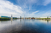 View to the Binnenalster of Hamburg with the town hall and the hotel , Hamburg, Northern Germany, Germany