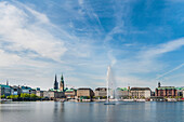 View to the Binnenalster of Hamburg with the town hall and fountain, Northern Germany, Germany