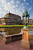 Lantern at Zwinger palace with reflection, Dresden, Saxony, Germany