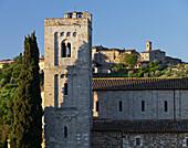Abtei Sant Antimo mit Zypresse und Häuser im Hintergrund, Castelnuovo Dellabate, Toskana, Italien