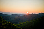 Autumn scenery in sunset, Styria, Austria