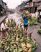 PERU, Belen, South America, Latin America, abundance of bananas at Belen Market