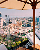 PERU, Lima, South America, Latin America, A view of Lima from the rooftop deck of the Miraflores Park Hotel.