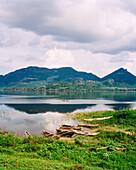 SRI LANKA, Dambualla, Asia, view of Kandalama Lake with mountains in Dambulla.