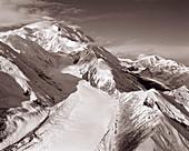 USA, Alaska, snow capped Mount Denali, Denali National Park (B&W)