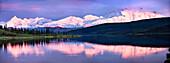 USA, Alaska, Mount Denali reflecting in Mirror Lake, Denali National Park