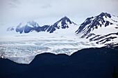 ALASKA, Homer, Kenai mountains and Kenai Penninsula glaciers viewed from East End road in Homer