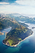 ALASKA, Homer, aerial view of Kachemak Bay State Park and Wilderness, Kenai mountains, Koyuktolik Bay, Gulf of Alaska