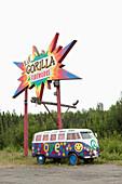 ALASKA, Talkeetna, a painted peace wagon 15 miles south of Talkeetna near Willow Creek