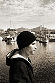 ALASKA, Sitka, portrait of Gregory, a young manager of the Sitka Sound Seafood Company