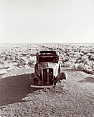 USA, Arizona, historic ford truck, Petrified Forest National Park, Painted Desert (B&W)