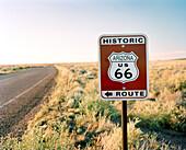 USA, Arizona, Historic Route 66 and road sign