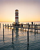 AUSTRIA, Podersdorf, people visit a lighthouse in Lake Neusiedler See, Burgenland
