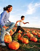 USA, California, happy girl and boy running in pumpkins, Half Moon Bay