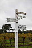 USA, California, Sonoma, signs point the way to the many vineyards in the Sonoma countryside